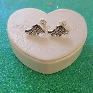 Pandora feathers stud earrings sterling silver